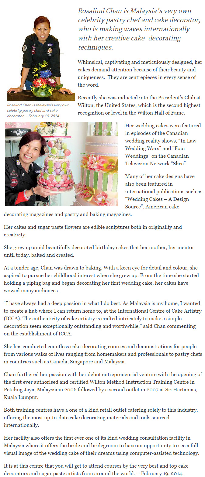 Icing Her Way to Top of Pastry World-The Malaysian Insider article